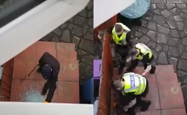 ladrón sorprendido por la policía.
