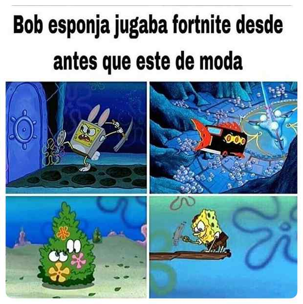 Bob Esponja ya jugaba al Fortnite