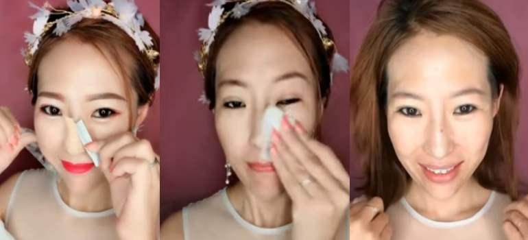vídeo de mujeres asiáticas antes y después de maquillarse.