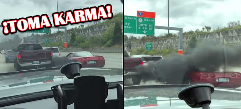vídeo de un conductor que recibe karma