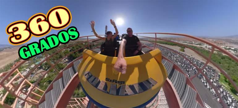 vídeo 360 de un viaje en montaña rusa