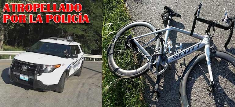 Policía despistado atropella a un ciclista