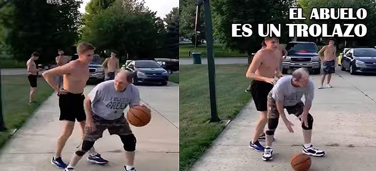 Este abuelo del vídeo da una lección jugando al baloncesto.