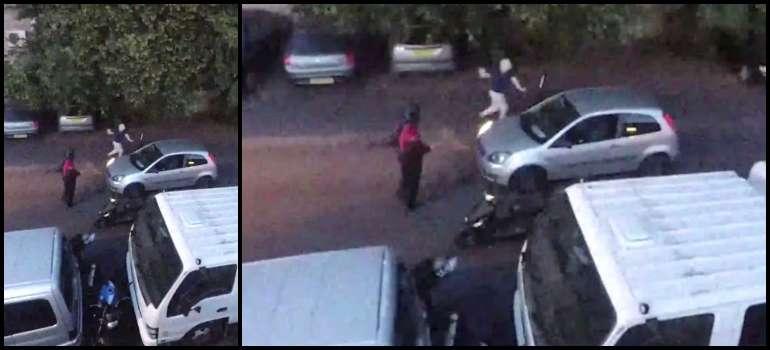 Este conductor se enfrenta a dos ladrones de motos