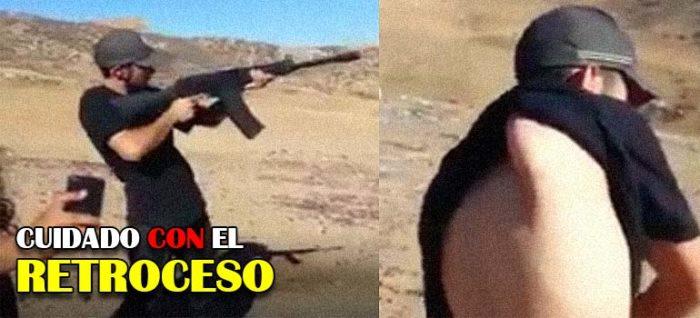 Mira lo que le ocurre a este hombre después de disparar un rifle. 16