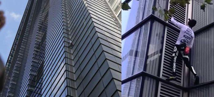 Vídeo del Spiderman Francés escalando un edificio.
