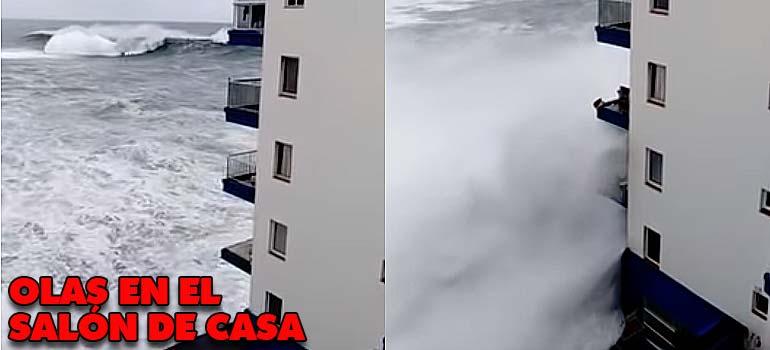 Las olas llegan hasta el séptimo piso en un edificio de Tenerife. 4