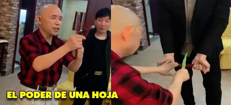 Impresionante este maestro Chino que usa una hoja para partir madera. 4