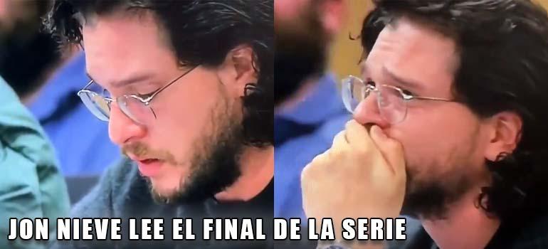 Cuando Jon Nieve leyó el guión del último episodio de juego de Tronos. 3