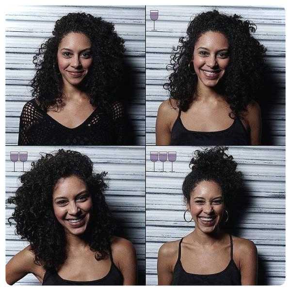 Fotos de personas antes y después de beber vino. 9