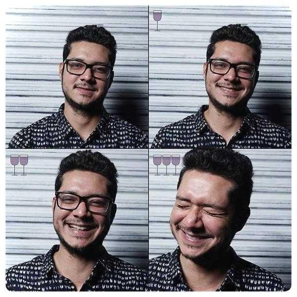 Fotos de personas antes y después de beber vino. 15