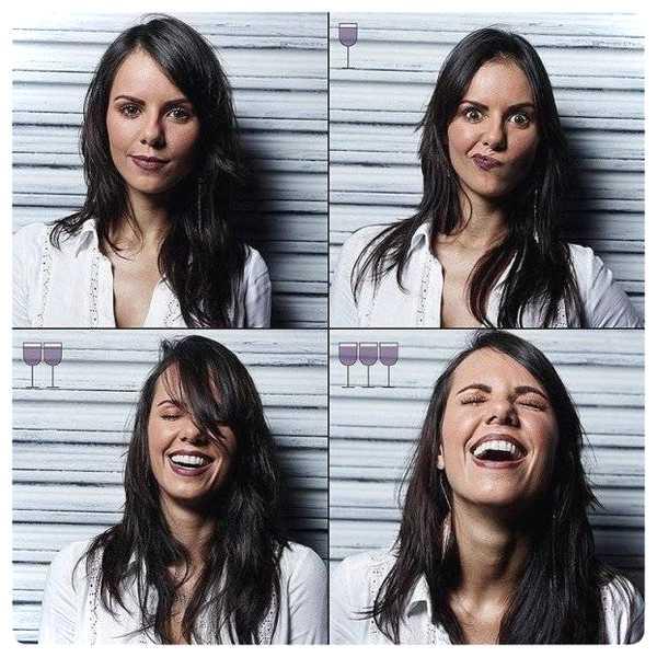 Fotos de personas antes y después de beber vino. 16