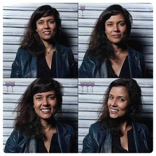 Fotos de personas antes y después de beber vino. 18