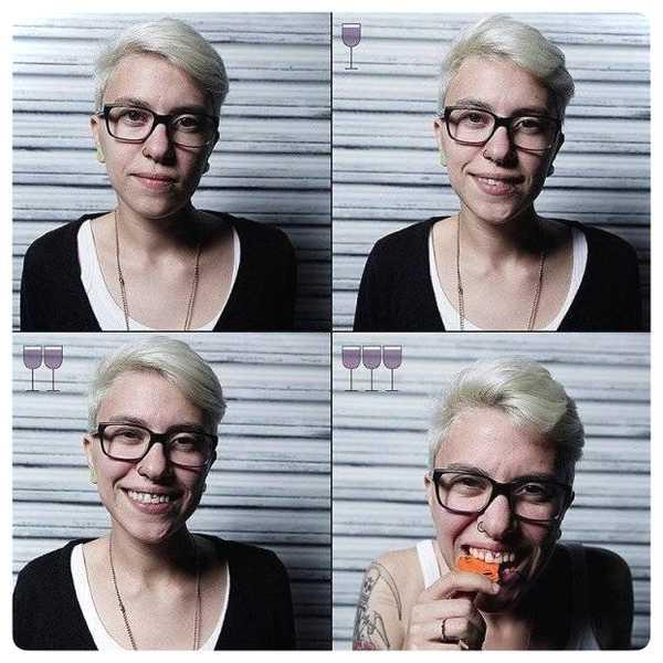 Fotos de personas antes y después de beber vino. 4
