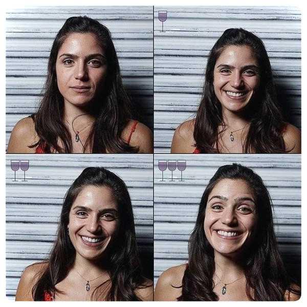 Fotos de personas antes y después de beber vino. 5
