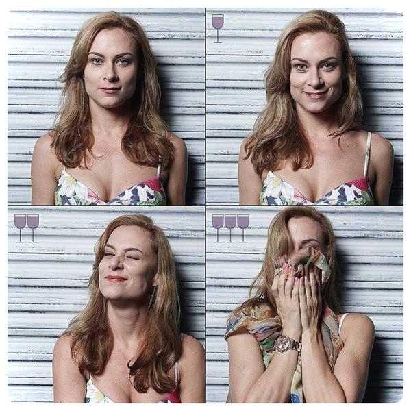 Fotos de personas antes y después de beber vino. 7