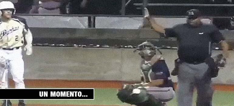 El arbitro para el partido de béisbol para vomitar. 5