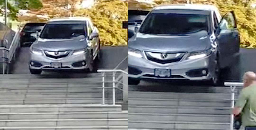 Esta mujer decide bajar con el coche por las escaleras. 4