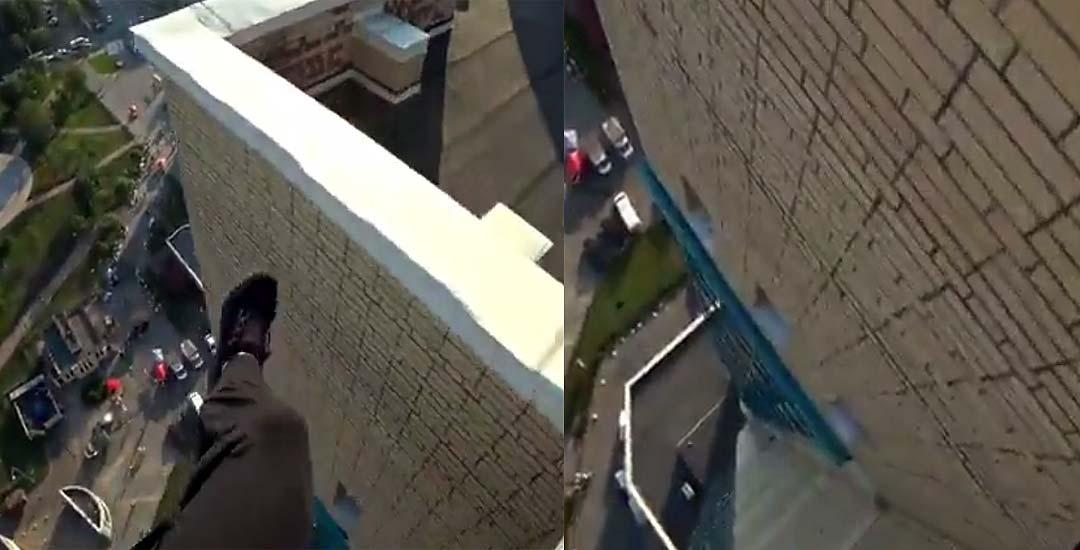 Casi se mata haciendo parkour en lo alto de un edificio. 2