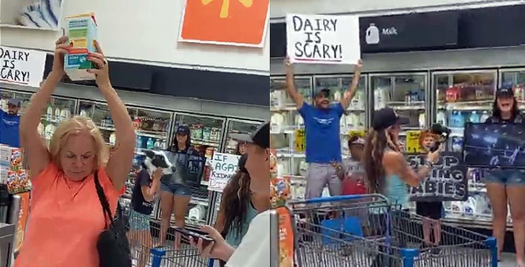 Veganos protestan en el supermercado por la venta de leche y la gente pasa de ellos. 9