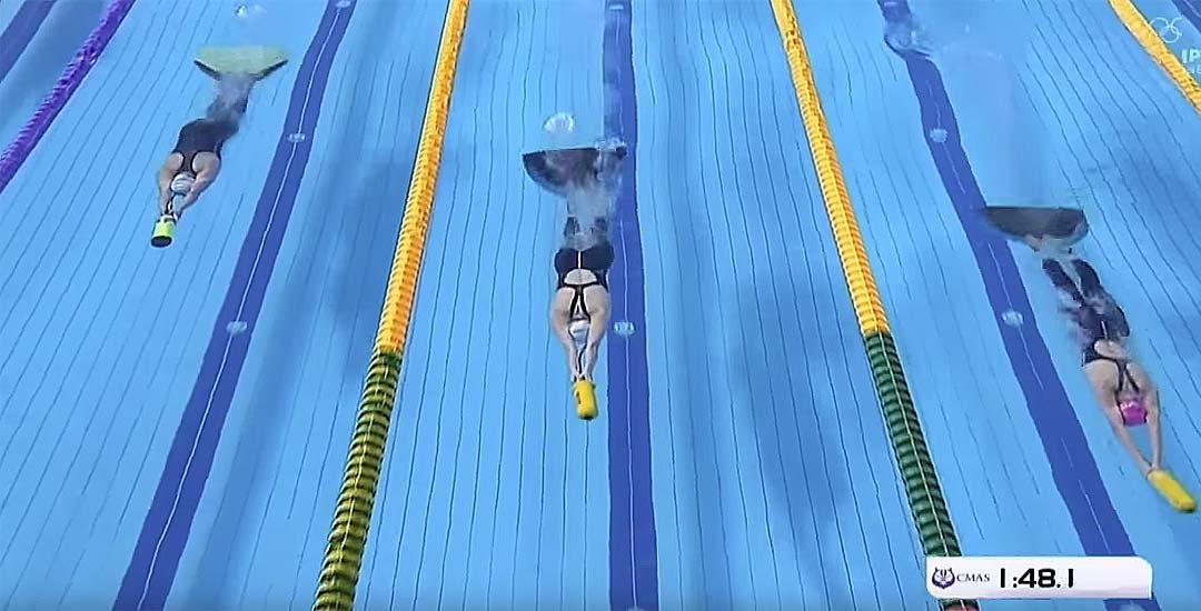 Carrera de 400 metros inmersión con aletas. 1