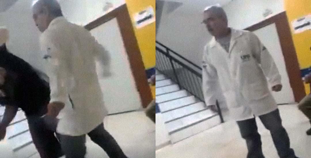 Médico agrede a un paciente en la sala de espera. 33