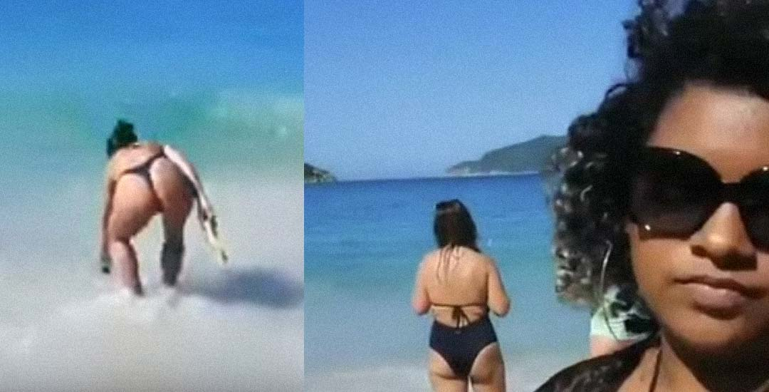 Marido grabando a las chicas en la playa es pillado por su mujer. 3