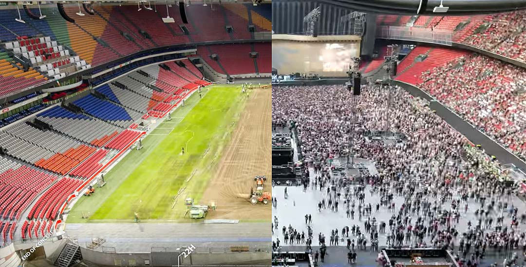 En solo 67 horas, transforman un estadio de fútbol para un concierto de U2. 47