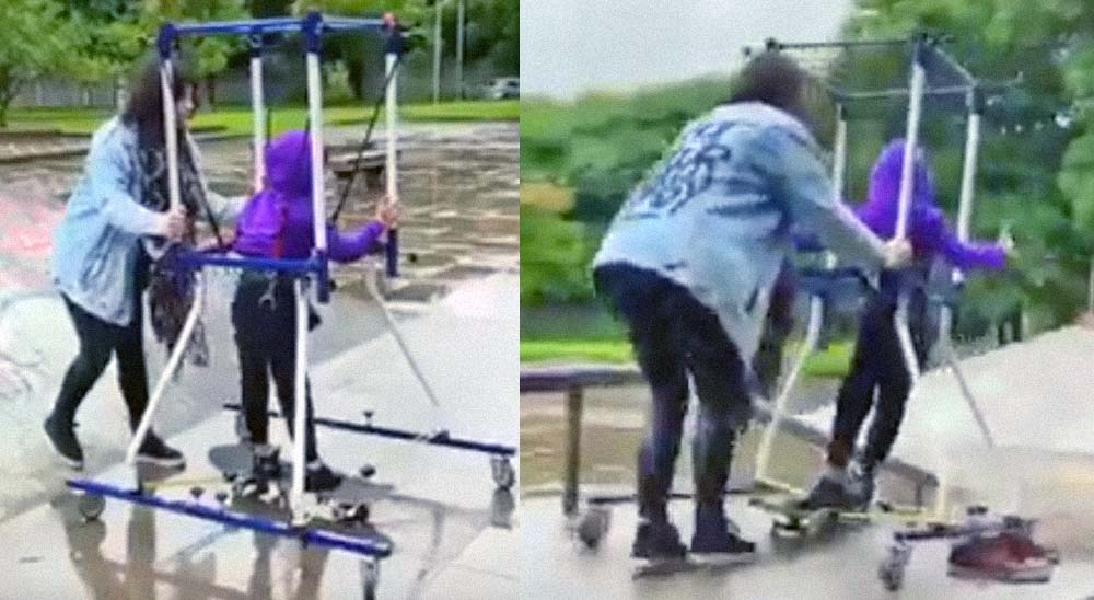 Una madre crea un invento para que su hijo con parálisis cerebral pueda hacer skate 8