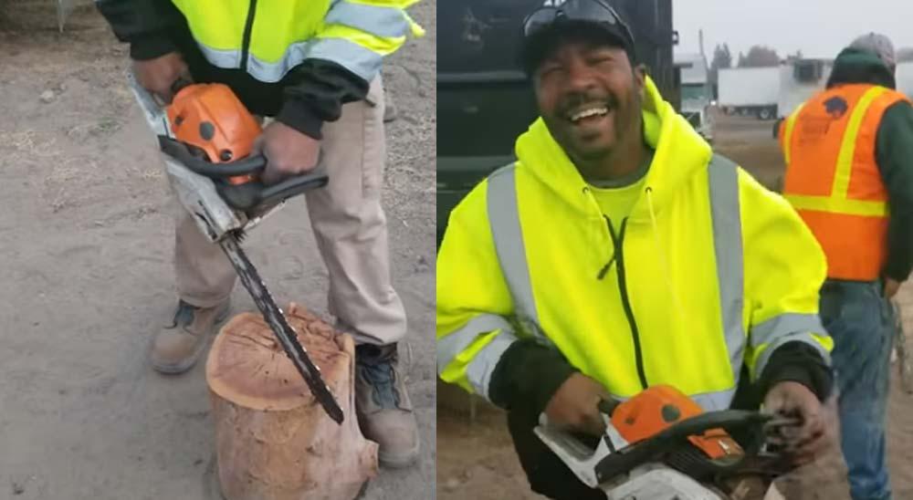 Se pone a cortar madera con la motosierra apagada 3