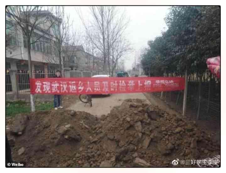 Los aldeanos Chinos fortifican pueblos para evitar que entre gente infectada [Vídeos y fotos] 2