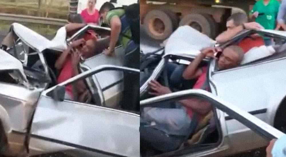 Tres brasileños sobreviven milagrosamente a un accidente de coche 3