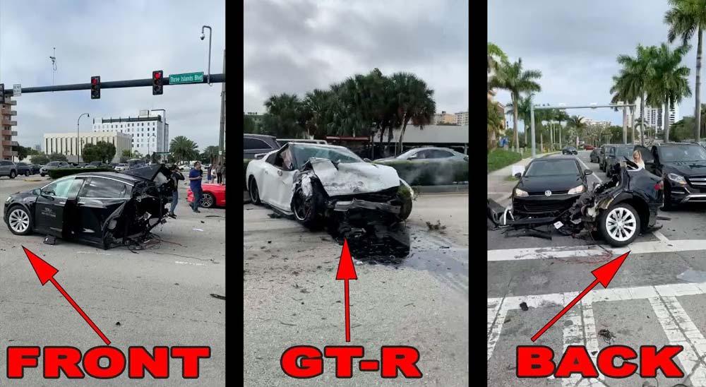 Un coche Tesla es partido por la mitad en un accidente de tráfico