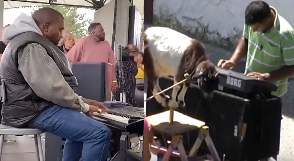 Kanye West tocando el órgano como los gitanos de la cabra 3