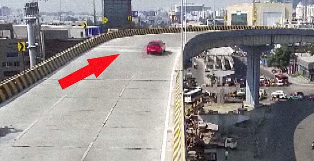Un coche vuela desde un puente y cae encima de un peatón 9