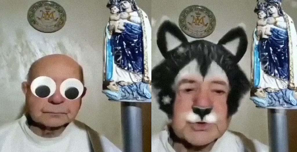 Otro sacerdote que hace un directo olvidando desactivar los filtros 3