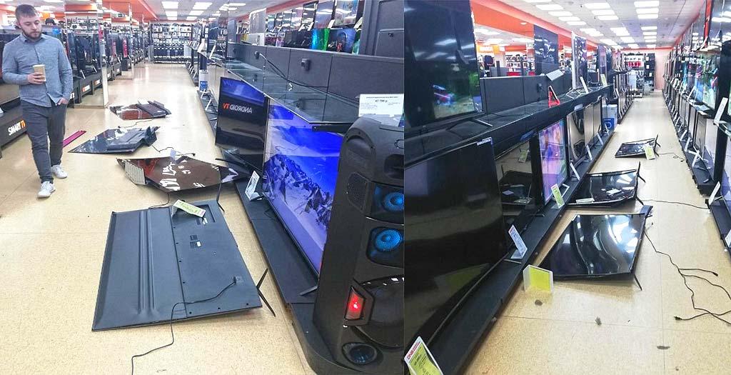 Un hombre destroza todas las televisiones de una tienda a martillazos 4