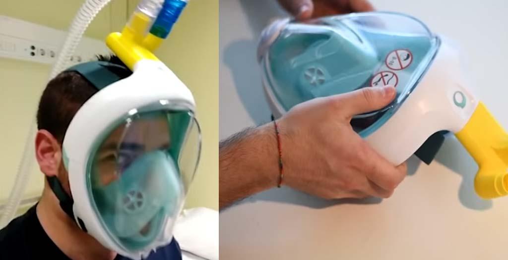 Una empresa Italiana, convierte mascaras de buceo del Decathlon para usar con los respiradores 8