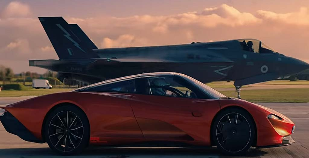 McLaren Speedtail contra un caza de combate F35 2
