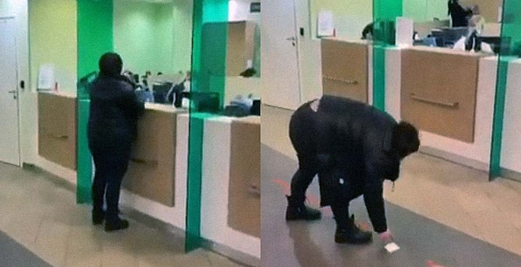 Así atienden a los clientes en un banco Ruso a causa del COVID-19 4