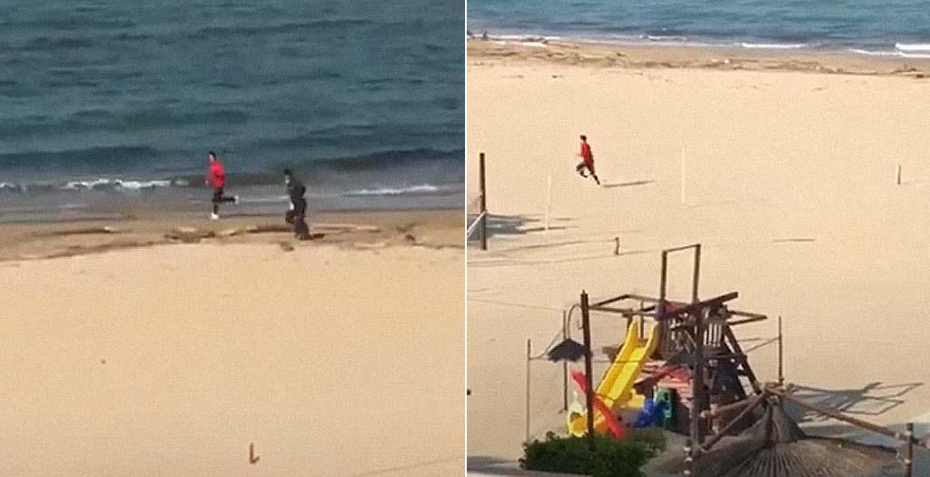 Escapa corriendo de la Guardia Civil que lo pilla corriendo por la playa en pleno confinamiento 19