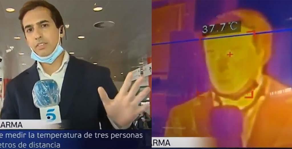 Reportero de televisión prueba en directo una cámara que mide la temperatura y resulta que tiene fiebre 20
