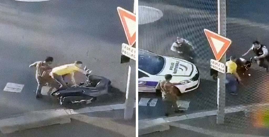 Dos borrachos en moto escapando de la policía. Vídeo 6