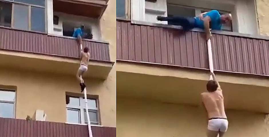 Amante escapando del marido por la terraza 6