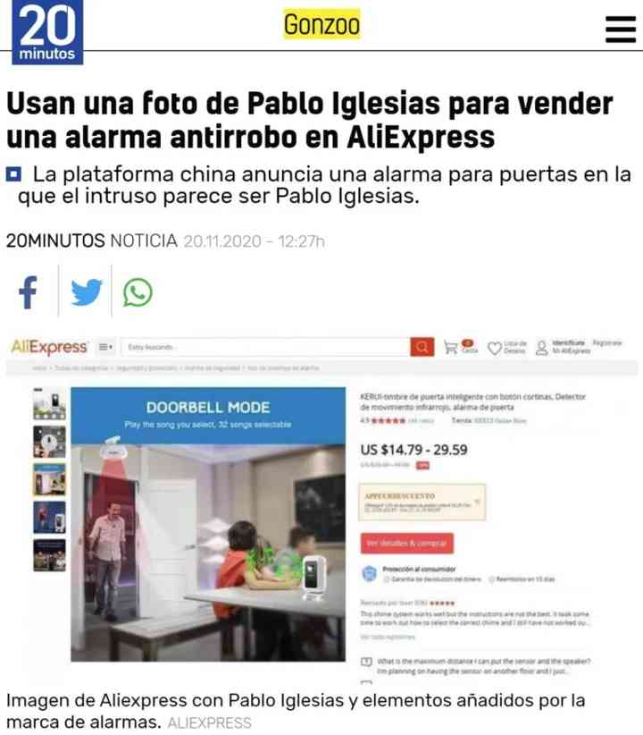 Pablo Iglesias vendiendo alarmas en AliExpress 2