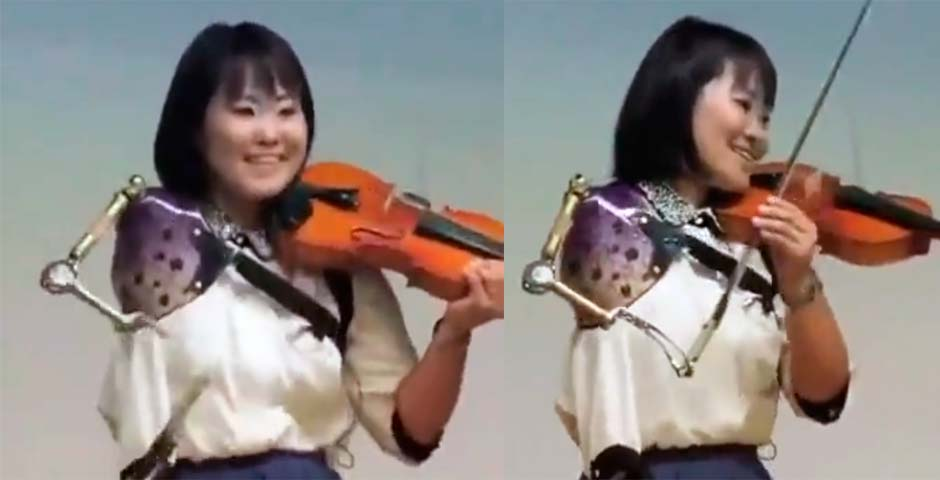 Impresionante esta violinista a la que la falta un brazo 4