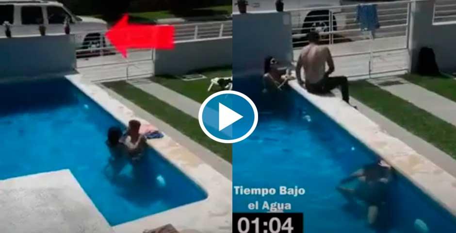 Con el amante en la piscina y aparece el marido 2